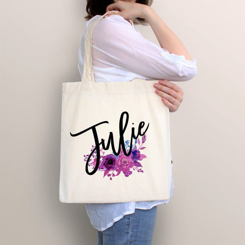 Personalized Tote, Floral Tote, Purple Flower Tote, Bridal Gift, Birthday Gift, Gift for Her, Graduation Gift, Prom Gift, Canvas Tote, Bag