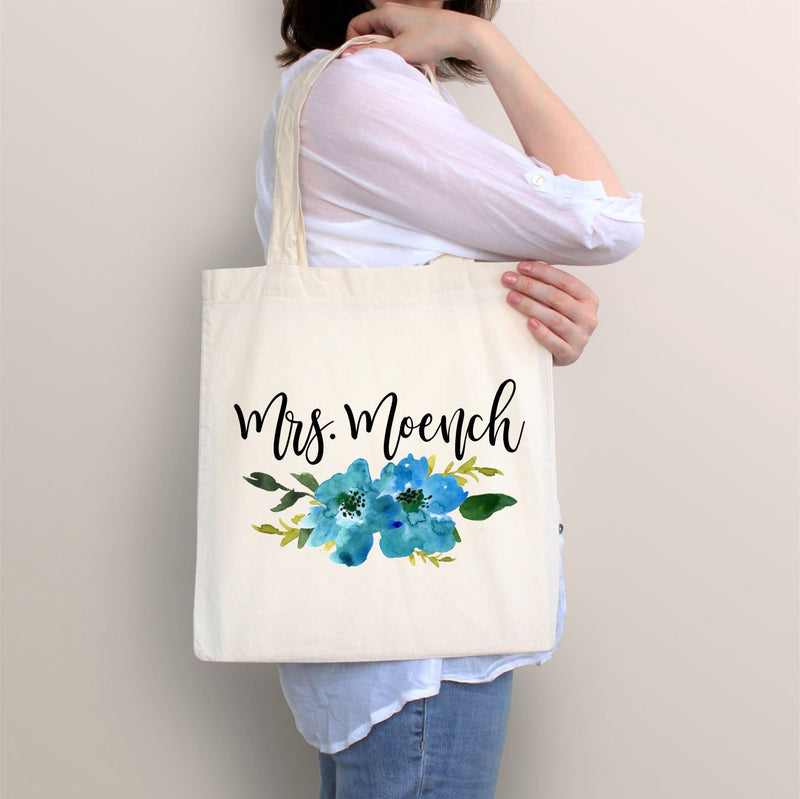 Personalized Tote, Floral Tote, Blue Flower Tote, Bridal Gift, Birthday Gift, Gift for Her, Graduation Gift, Prom Gift, Canvas Tote, Bag