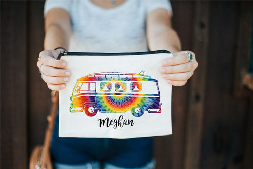 Tie Dye Makeup Bag, Tie Dye Bag, VW Bus Bag, Hippie Makeup Bag, Personalized Makeup Bag, Music Festival Bag, Bridal Party Gifts, Pen Bag