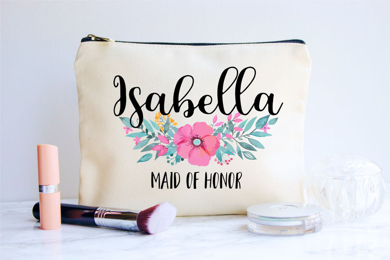 Maid of Honor Gift, Personalized Cosmetic Bag, Make Up Bag, Personalized Gift, Floral Makeup Bag, Maid of Honor, Wedding Gift, Bride, Bag