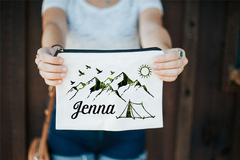 Outdoor Makeup Bag, Mountain Bag, Camping Makeup Bag, Canvas Makeup Bag, Outdoor Wedding, Bridal Party Gifts, Gift for Her, Country Girl