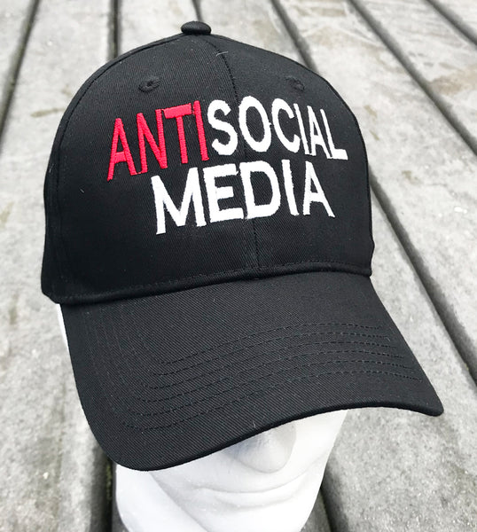 "Funny Social Media Baseball Cap ""Antisocial Media"""