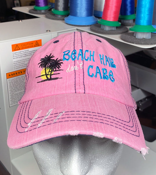 "Embroidered Pink Beach Cap ""Beach Hair don't Care"""