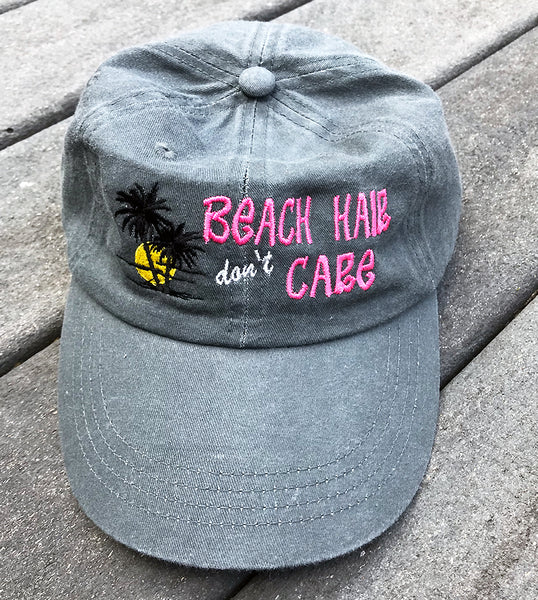 "Beach Baseball Cap ""Beach Hair, Don't Care"" - Badass Printing"