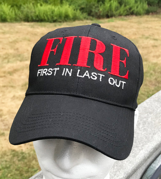 "Firefighter Baseball Cap ""Fire - First In Last Out"" - Badass Printing"