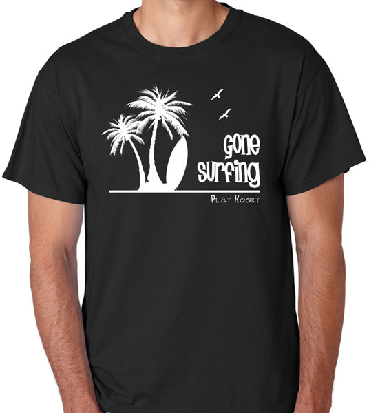 "Beach T-Shirt - ""Gone Surfing, Play Hooky"" - Badass Printing"