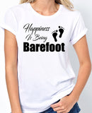 "Beach T-Shirt ""Happiness Is Being Barefoot"" - Badass Printing"