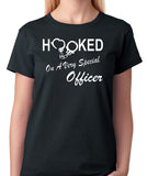 "Police Officers Wife Or Girlfriend T-Shirt ""Hooked On A Very Special Officer"" - Badass Printing"