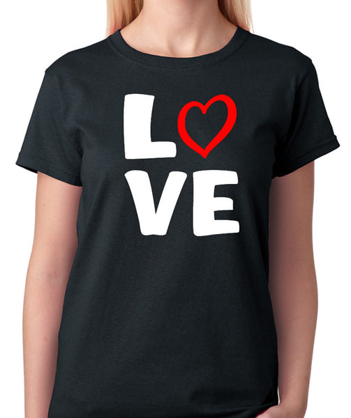 Love T-Shirt with Red Heart Design - Badass Printing