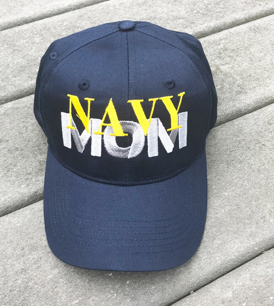 Navy Mom Embroidered Cap