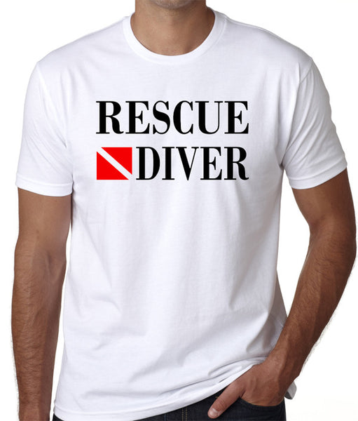 Rescue Diver T-Shirt - Great gift for emergency services divers, available in white & gray. - Badass Printing