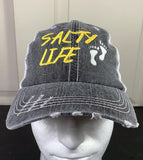 Salty Life Beach Hat, Beach Lover Embroidered Cap, No Shoes, Barefoot, Toes in the Sand