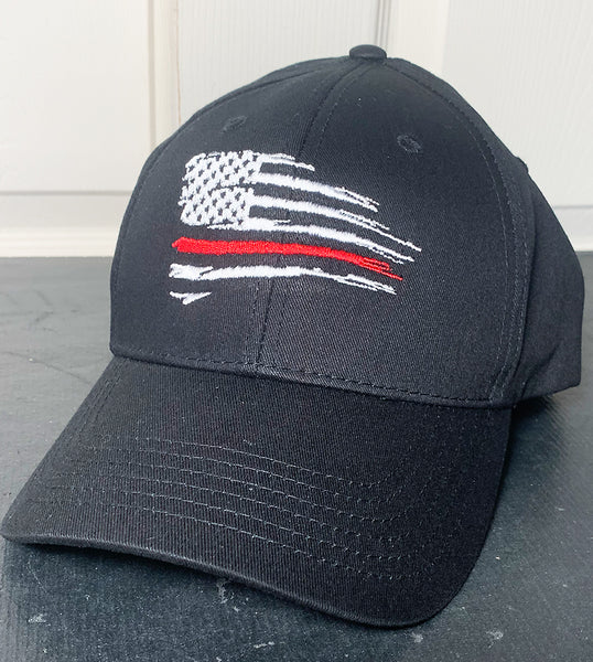Embroidered Firefighter Cap, Thin Red Line tattered Flag, Never Forget