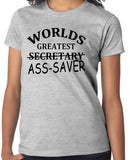"Secretary T-Shirt with Funny Quote ""Worlds Greatest Secretary...ASS-SAVER"""