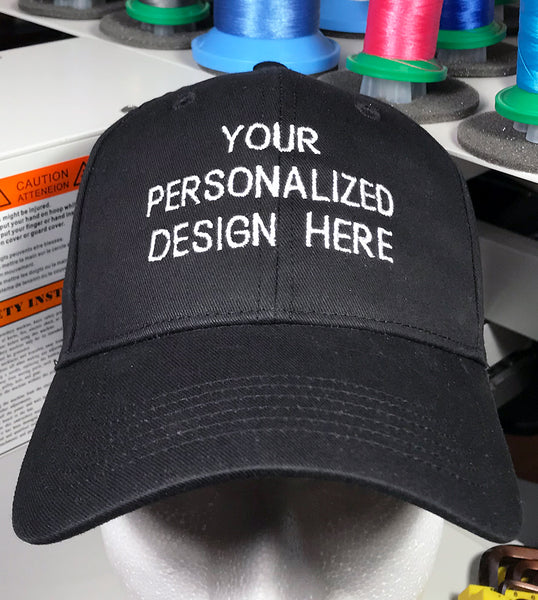 Custom Embroidered Caps, Personalized Names, Quotes, Sayings, Teams, Companies, more.