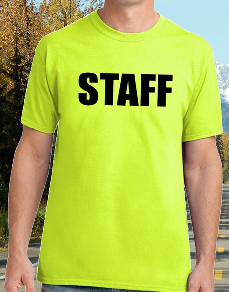 Staff T-Shirt - High Visibility Safety Green - Badass Printing