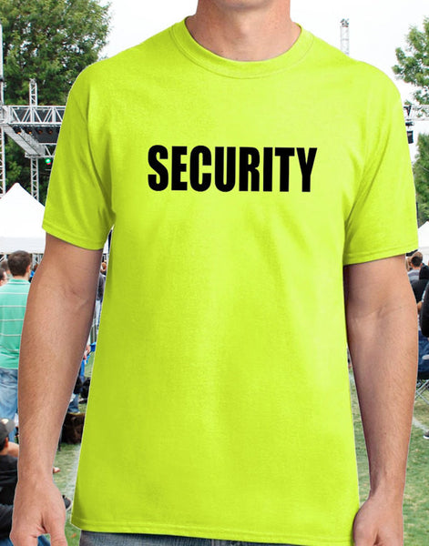 Security Guard T-Shirt in High Visibility Safety Green - Badass Printing