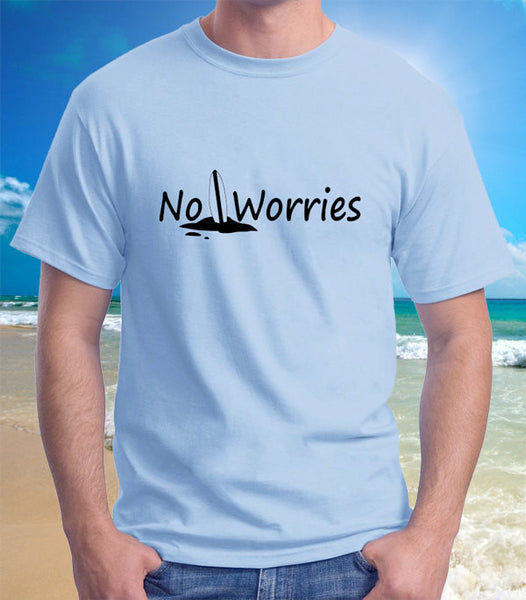 Surfboard Beach No Worries T-Shirt - Badass Printing