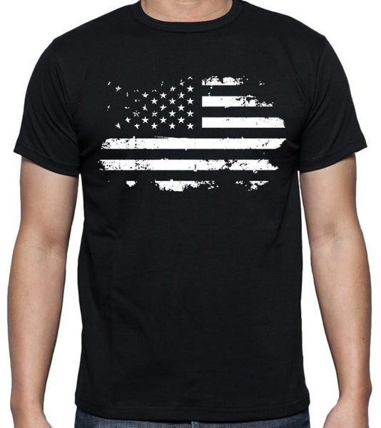 Patriotic Distressed American Flag T-Shirt - Badass Printing
