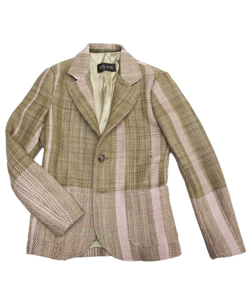 LEATHER WOVEN BLAZER