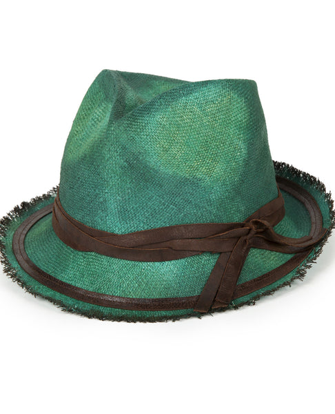 LEATHER TRIMMED STRAW HAT