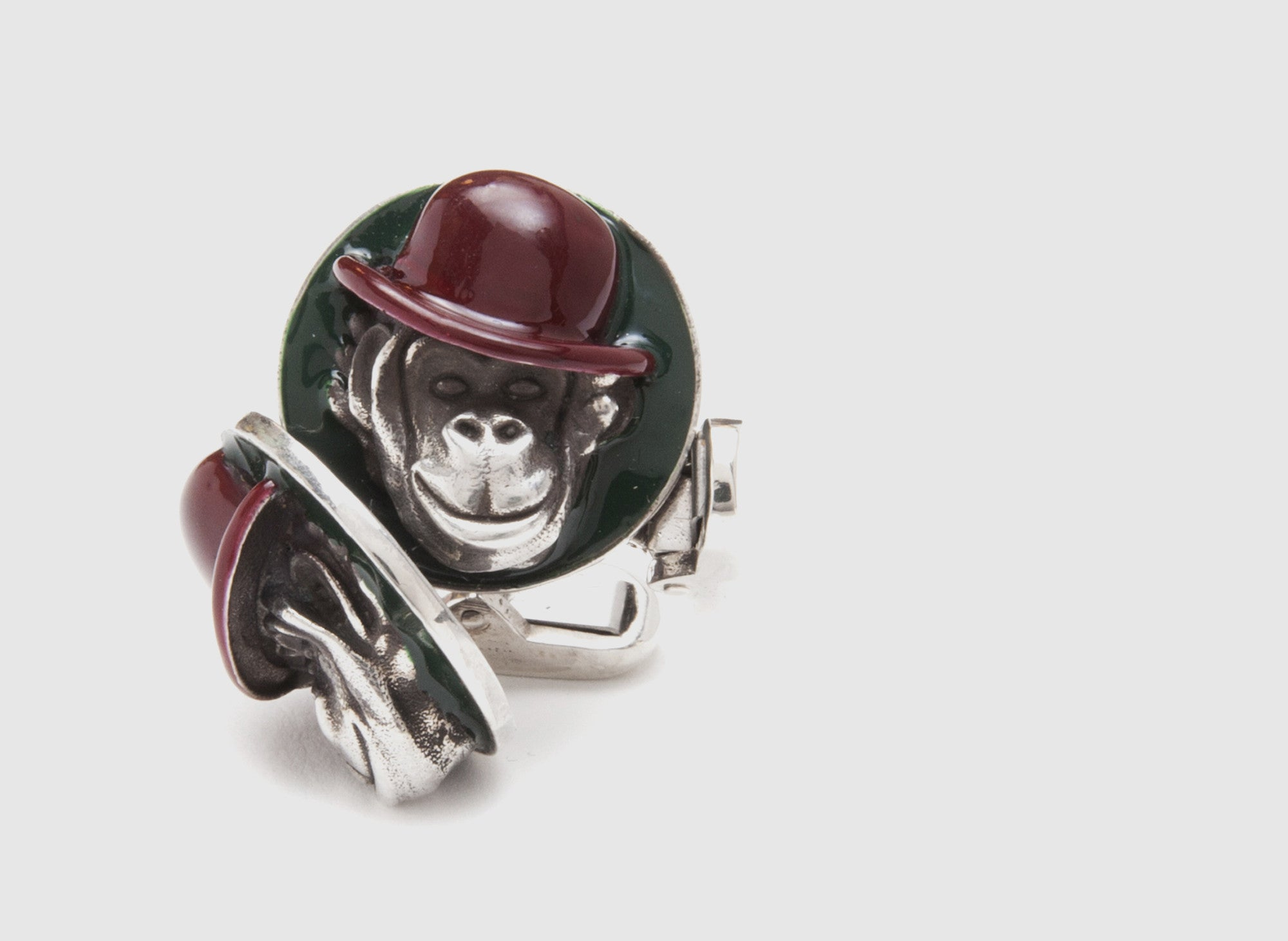 ENAMEL MONKEY HEAD CUFF LINKS