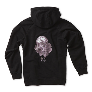 Black Cotton Hoodie with Monkey Skull & Roses Print - Jay Kos Men's Clothing