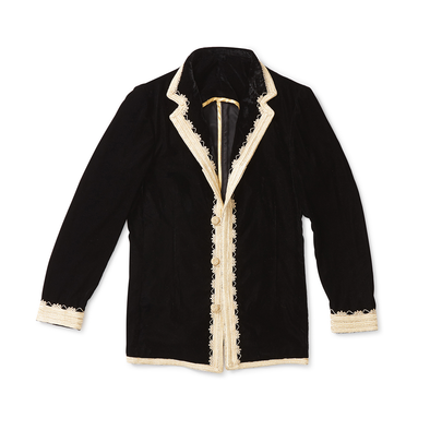 Black Velvet Dinner Jacket with Gold Trim - Jay Kos Menswear