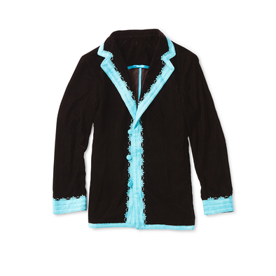 Black Velvet Dinner Jacket with Turquoise Trim - Jay Kos Menswear