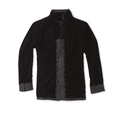 Black Velvet Dinner Jacket with Charcoal Trim - Jay Kos Menswear