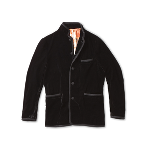 Black Velvet Smoking Jacket with Charcoal Trim - Jay Kos Menswear