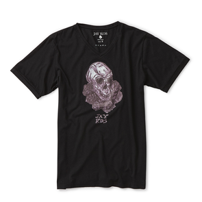 Black T-Shirt with Monkey Skull & Roses Print - Jay Kos Menswear
