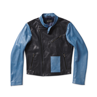 Black & Blue Goat Skin Leather Motorcycle Jacket - Jay Kos Menswear