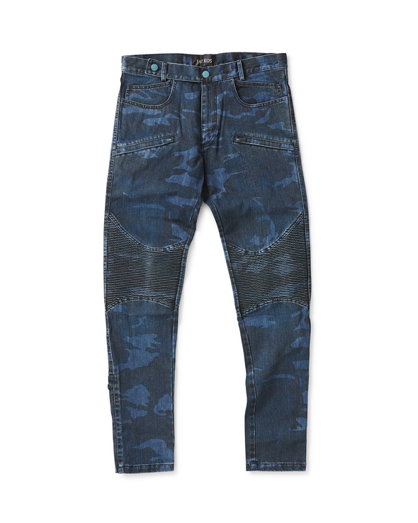 Blue Camo Moto Jean - Jay Kos Men's Clothing