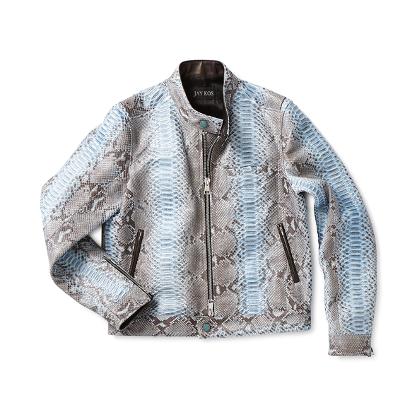 Blue Python Cafe Racer Jacket - Jay Kos Men's Clothing