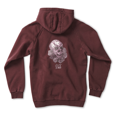 Bordeaux Cotton Hoodie with Monkey Skull & Roses Print - Jay Kos Menswear