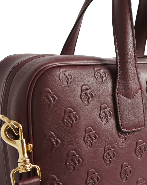 Bordeaux Embossed Leather Attache Case - Jay Kos Men's Clothing