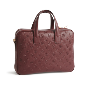 Bordeaux Embossed Leather Attache Case - Jay Kos Menswear