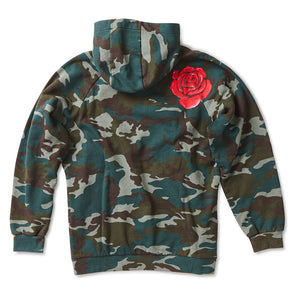 Camo Cotton Hoodie with Rose Print - Jay Kos Menswear