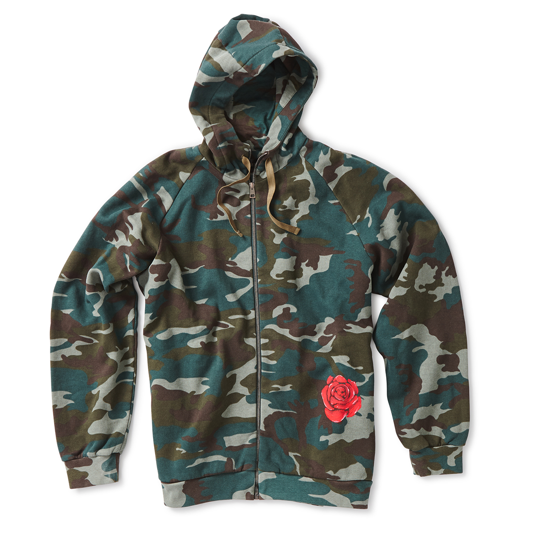 Camo Cotton Hoodie with Rose Print