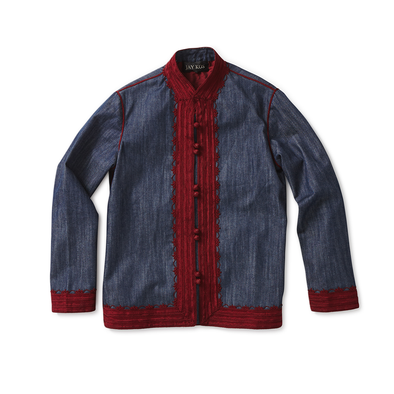 Denim Koslaba Jacket with Burgundy Trim - Jay Kos Menswear
