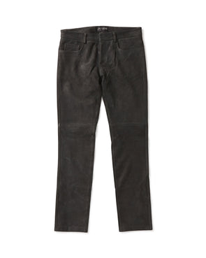 Distressed Black Goatskin 5 Pocket Jean - Jay Kos Men's Clothing