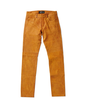 Distressed Tan Goatskin 5 Pocket Jean - Jay Kos Men's Clothing