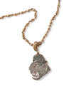 18k Gold Monkey Head Necklace with Inlaid Green Diamonds - Jay Kos Men's Clothing