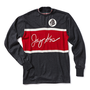 Grey and Red Dyed Italian Wool Bike Jersey - Jay Kos Menswear