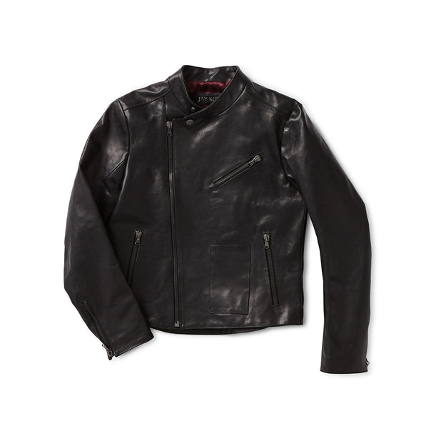 Black Horse Hide Leather Motorcycle Jacket - Jay Kos Men's Clothing