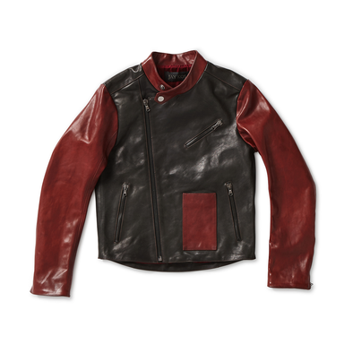 Olive Green & Bordeaux Horse Hide Leather Motorcycle Jacket - Jay Kos Men's Clothing