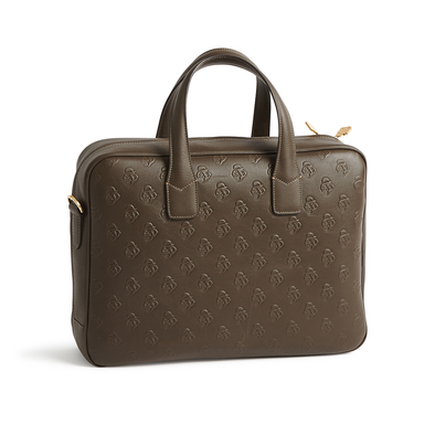 Olive Green Embossed Leather Attache Case - Jay Kos Men's Clothing