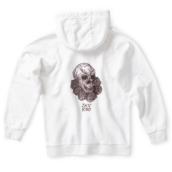 White Cotton Hoodie with Monkey Skull & Roses Print - Jay Kos Menswear