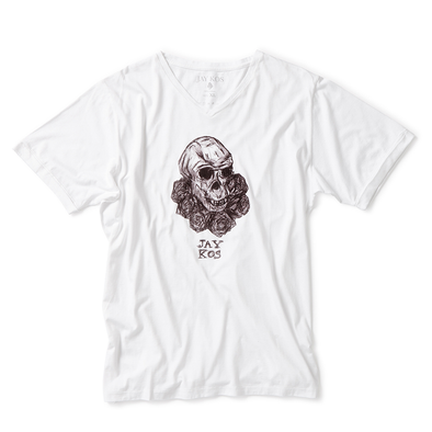 White T-Shirt with Monkey Skull & Roses Print - Jay Kos Menswear